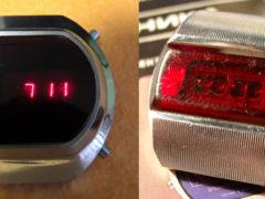 «Электроника-1» — настоящая легенда. Первые советские электронные наручные часы. Узнать время можно было, нажав на кнопку, после чего загорались светодиоды. Запуск серии состоялся в 1973 году. (Фото: Сергей Фролов / leningrad.su)
